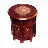 Sheesham Wood Foldable Carved - Brass Inlaid Tables