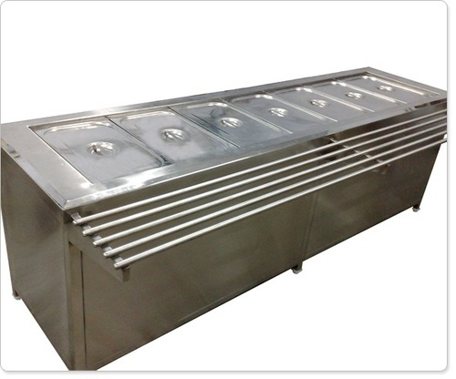Bain Marie Service Counter with Tray Slide (Pipe)